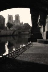 Notre Dame de Paris (gadknows) Tags: blackandwhite bw paris france church seine stairs river spring cathedral towers quay notredame quai printemps gad lim iledelacite petitpont pontsaintmichel blackwhitephotos gadlim