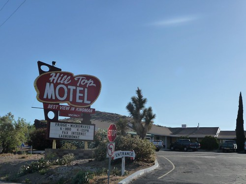 restored hill top motel sign in kingman.