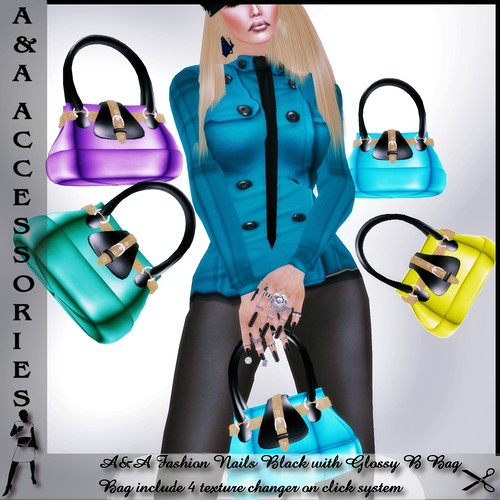 A&A Fashion Bag Glossy B  with Nails Black