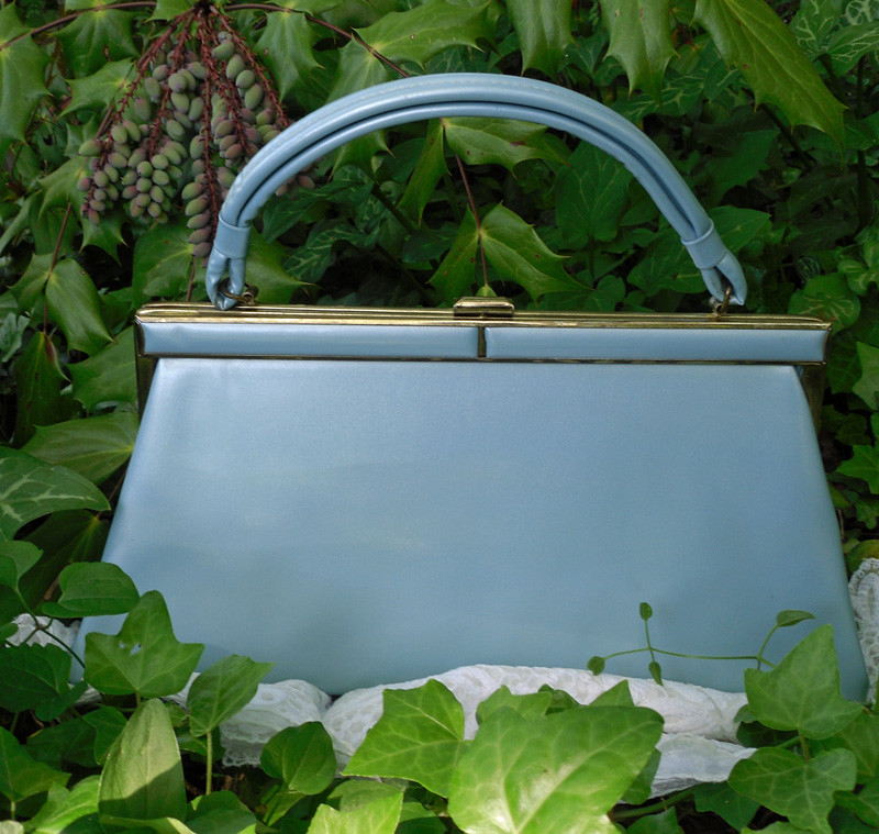 Robin Egg Blue Patent Leather Handbag