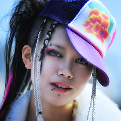 HARAJUKU CULTURE (ajpscs) Tags: street portrait color girl face hat fashion japan hair asian japanese tokyo nikon asia cosplay culture streetphotography teens lips cap harajuku kawaii  pierce nippon  trend    d300   hairextension  herlook ajpscs kosupure  punklook