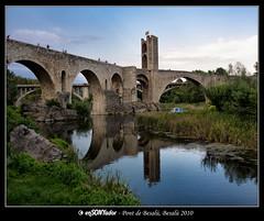 Pont de Besal (scar Garriga) Tags: barcelona bridge reflection rio river puente town reflex spain sony pueblo catalonia medieval reflejo pont catalunya alpha besalu riu reflexes poble a700 fluvia