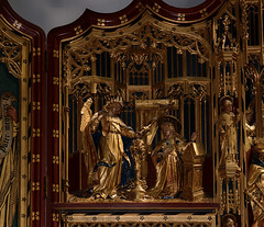 Lichfield, Staffordshire, cathedral, lady chapel, altar, detail (groenling) Tags: wood uk england gabriel saint angel cathedral mary jesus birth carving altar staffordshire annunciation nativity woodcarving lichfield staffs ladychapel nativitas bvmandstchad