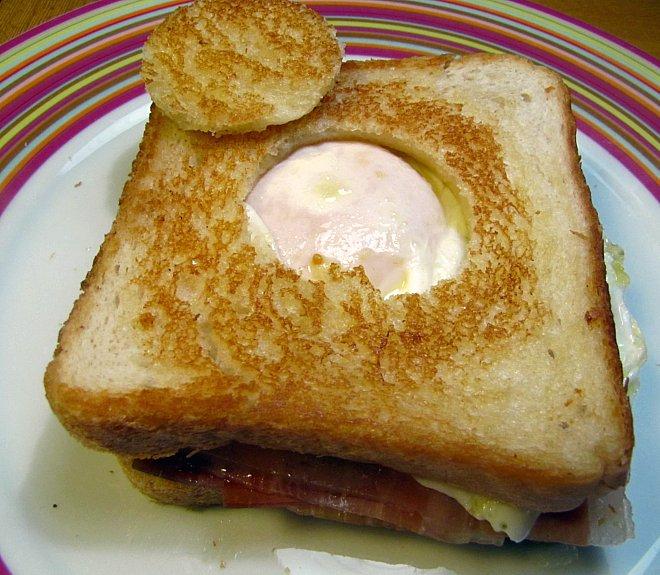emparedado de huevo y jamón