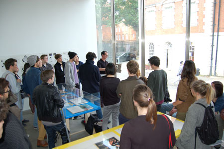 Barney Bubbles exhibition: Chelsea students with Paul Gorman
