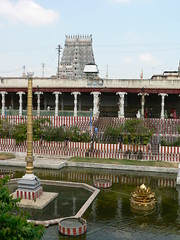 Golden Lotus Pond (Sparky the Neon Cat) Tags: india tower temple golden pond asia lotus amman hindu madurai tamil nadu kulam meenakshi gopuram pottramaraikulam gopura pottramarai sundareswarar porthamarai