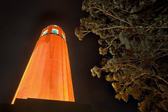 Coit Tower - Go San Francisco Giants (AGrinberg) Tags: sf sanfrancisco trees orange tower halloween night artdeco giants lit telegraphhill nocturne hdr coit worldseries 1933 pioneerpark longexposures 943812coit