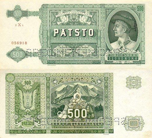 500 Ks II. Päťsto korún Slovensko 1941, specimen