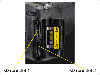 Double SDXC-compatible SD card slots on the Nikon D7000