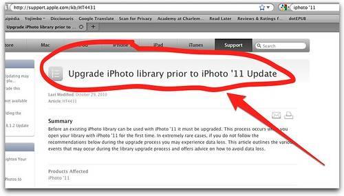 Upgrade iPhoto library prior to iPhoto '11 Update