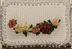 Silk ribbon wall decoration