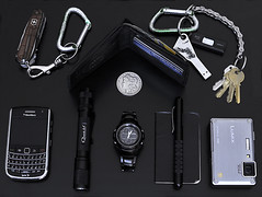 EDC ([mementosis]) Tags: moleskine notebook lumix blackberry wallet panasonic casio flashlight edc lacie swissarmy quark gshock sandisk everydaycarry silverdollar victorinox ts1 tactical cruzer ft1 volant aa2 cybertool 9650 usedrubber morgandollar 4sevens pocketdump countycomm itsakey embassypen cockpitseries g702bd