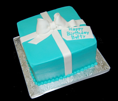 Tiffany blue package cake with simply white bow for a 90th birthday party