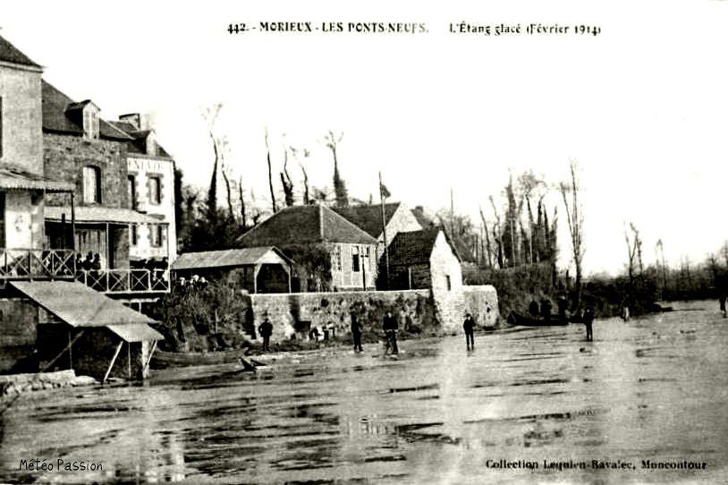 étang gelé à Morieux en Bretagne Nord début février 1914