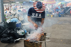Barbecue (dtanist) Tags: nyc newyork newyorkcity new york city sony a7 konica hexanon 40mm brooklyn manhattan beach bbq barbecue man grill grilling meat food skewers smoke july 4th independence day usa