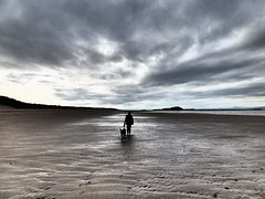 Onward (Tobymeg) Tags: beach between yellowcraig north berwick firth forth scotland sky grey cloud sand sea glow panasonic dmcfz72 wife dog