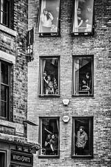 Whats happening? (tootdood) Tags: canon70d blackandwhite monochrome brick building windows catlow lane whats happening people intrigued intriguing