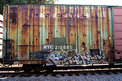 BLAME THE RICH (TRUE 2 DEATH) Tags: california railroad streetart train logo graffiti rust tag graf rusty faded railcar rusted weathered boxcar railways railfan freight herald rollingstock penncentral newyorkcentral benching nameit nyc218285