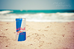 Blue Sea & Red Bull (Pink Pixel Photography (f.k.a. Sunny)) Tags: sea bokeh canonef50mmf18 greece crete redbull summervacation canoneos400d happyniftyfiftyfriday hnff wwwpinkpixelat pinkpixelphotography