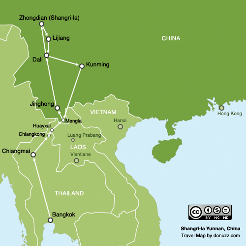 แผนที่แชงกรีล่า ยูนนาน จีน Shangri-la Yunnan, China Map