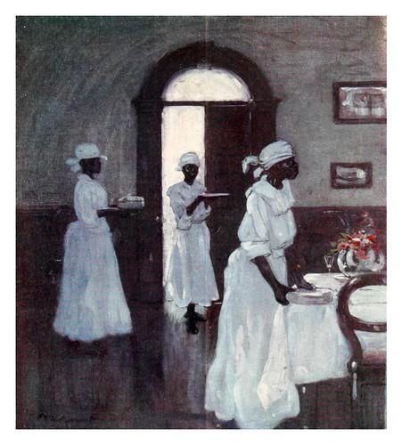 008-Mujeres del servicio en una casa en Jamaica-The West Indies 1905- Ilustrations Archibald Stevenson Forrest
