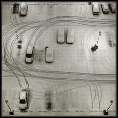 Snow trails (Lo Scorpione) Tags: park winter light snow cars car leuven contrast square belgium parking tracks trails footprints footsteps tyre heverlee 500x500 artlibre artlibres winner500 andromeda50 winner500x500bestof tripleniceshot mygearandmesilver