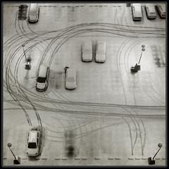 Snow trails (Mathieu Soete) Tags: park winter light snow cars car leuven contrast square belgium parking tracks trails footprints footsteps tyre heverlee 500x500 artlibre artlibres winner500 andromeda50 winner500x500bestof tripleniceshot mygearandmesilver