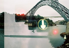 A Winter's Tale (The Storyboard Tragedy 8//10) (Trapac) Tags: uk bridge blue winter red england white signs trafficlights film portugal water night river dark bristol lights nikon iron day arch kodak doubleexposure deep bridges arches down olympus direction stop porto round arrows glowing roadsigns exit nikkor50mmf18 expired portra clifton om1 olympusom1 nightday darklight doubles expiredfilm whiteladiesroad 810 160nc kodakportra160nc escaperoute kodakportra zuiko50mmf14 160iso awinterstale 082008 nikonel2 collaborationbetweenraúlmtrapac doubles14 withraúlm om1roll4 expiredaugust2008 thestoryboardtragedy