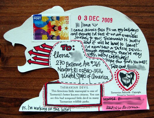 Die-cut Tasmanian Devil Postcard