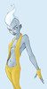 Air (jernvotten) Tags: blue woman white girl beauty yellow tattoo pose hair wind air bald marks suit flowing elemental genasi