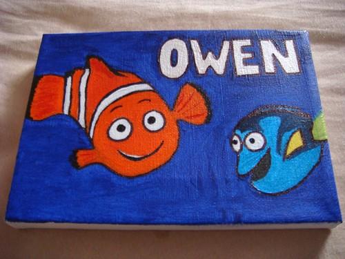 Owen's nursery door nameplate canvas by @Sianz, Mummy's Twitter friend