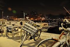 Night and snow @ Amsterdam (Michiel020) Tags: nightphotography light snow amsterdam lights evening sneeuw magerebrug fietsen amstel weesperzijde januari2010