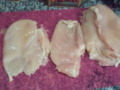 Pounded chicken breasts