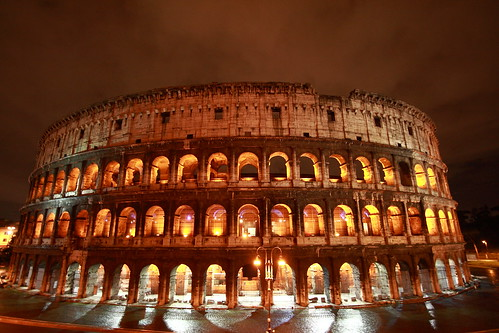 Rome colosseum lit at night by Bracie&Bryan.