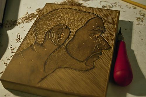 Self Portrait Linocut
