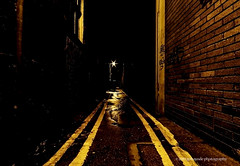 yellow alley (gobayode photography...times) Tags: alley noparking roadsigns roadmarkings darkalley doubleyellows lightattheend