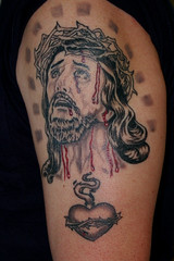 jesus healed (Billy Whaley Tattoo) Tags: new white black tattoo ink religious grey idea blood catholic heart arm kentucky badass praying jesus indiana prince christian sacred albany billy torn louisville custom asgard whaley