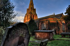 St Mary's Church, Eastham (Tony Shertila) Tags: england tree history church weather architecture europe day britain cemetary sunny graves clear wirral 1000views eastham yahooweather theunforgettablepictures