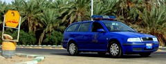 Skoda Police Car (MS4d) Tags: road street city blue trees trooper tree cars tourism public car horizontal palms coast force traffic egypt police security pd tourist palm vehicles cairo national egyptian vehicle safe emergency combi patrol skoda octavia unit    kharga   koda