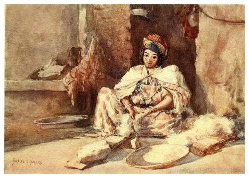 009-Cardando la lana-Algeria and Tunis (1906)-Frances E. Nesbitt