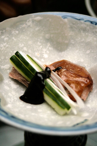 Peking duck with salty bean paste sauce