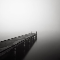 Vanishing V (Joel Tjintjelaar) Tags: mist lake fog fun couple jetty young have vanishing daytimelongexposure bwnd110 tjintjelaar 10stopsfilter extremelongexposure nohorizons