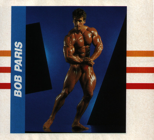 Bodybuilder Bob Paris in a cool 80's setting
