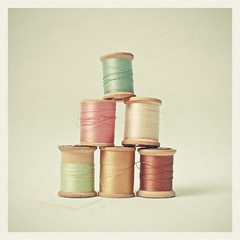 (_cassia_) Tags: pink brown green thread gold wooden mint pistachio oyster reels bobbins unravelling cottonreels candypink pastelcolours lolasroom