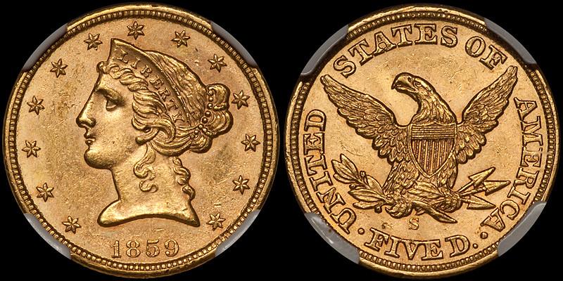 1859-S $5.00 NGC MS61 CAC