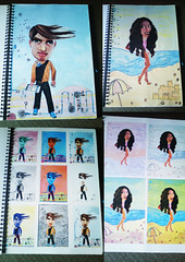 caricature (Art Fountain) Tags: people fashion collage pencil drawings sketches coloured dollies doodling shading