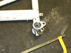Removing the stand boss (tipraider) Tags: boss stand moulton mk3 fframe bottombracket raleigh20