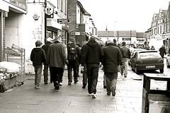 going to the match (andvic) Tags: blackandwhite men boys pavement crowd marketstreet pilgrimage hornets watford saturdayafternoon digitalcameraclub project365 watfordfc