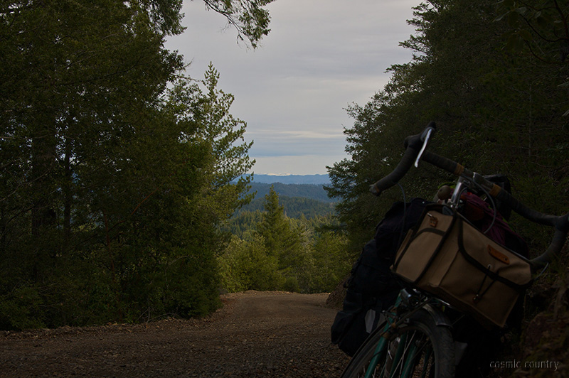 looking back at a 14% grade on fish rock, mountain in the distance