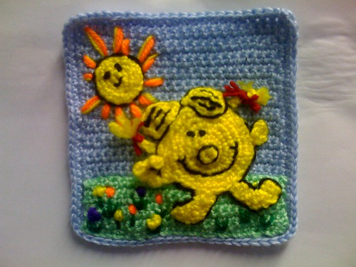Here's my 'Sunny Square again!'. I'm inviting anyone to join in the fun. Would you like to make a 'Sunny Square' for one of our 'Sunshine Blankets'. I hope you will pop over to my blogs and read about our challenge!'